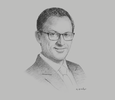 Sketch of Hassan Laaziri, Chairman, Association of Moroccan Capital Investors; and CEO, CDG Capital Private Equity