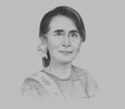 Sketch of Daw Aung San Suu Kyi, State Counsellor of Myanmar