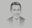 Sketch of Takeshi Minakata, Managing Director, Myanmar Brewery