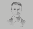 Sketch of Neil Emerson, Senior Vice-President and Managing Director for the Asia-Pacific Region, Diebold Nixdorf