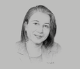Sketch of Lamia Ben Mahmoud, CEO and Chairman, Tunis Re