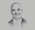 Sketch of Ahmed Khalaf, General Manager, Four Seasons Hotel Tunisia