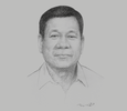 Sketch of President Rodrigo Roa Duterte, on federalism, security, supporting overseas foreign workers (OFWs)