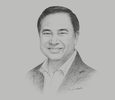Sketch of Kalin Sarasin, Chairman, The Thai Chamber of Commerce and Board of Trade of Thailand