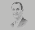 Sketch of Ian Clough, Chairman, Brian Bell Group