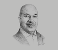 Sketch of Ronald Walcott, CEO, Telecommunication Services of Trinidad and Tobago (TSTT)