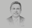 Sketch of David Dulal-Whiteaway, CEO, Arthur Lok Jack Graduate School of Business