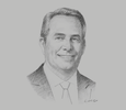 Sketch of Liam Fox, UK Secretary of State for International Trade