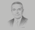 Sketch of Moulay Hafid Elalamy, Minister of Industry, Investment, Trade and Digital Economy
