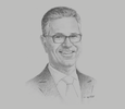 Sketch of Bernd van Linder, CEO, Commercial Bank of Dubai