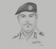Sketch of Maktoum Ali Al Sharifi, Director-General, Abu Dhabi Police
