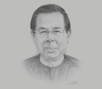 Sketch of U Zaw Min Win, President, Union of Myanmar Federation of Chambers of Commerce and Industry (UMFCCI)