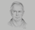 Sketch of John Lewins, CEO, K92 Mining