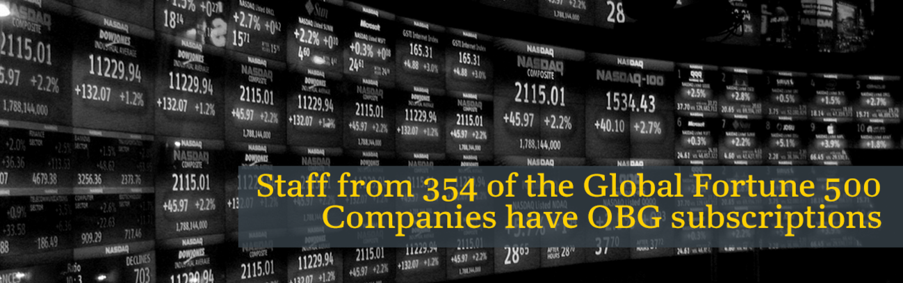 Staff from 354 of the Global Fortune 500 Companies have OBG subscriptions