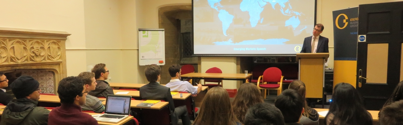 Oliver Cornock, Regional Editor for The Middle East, speaking at Oxford University, UK
