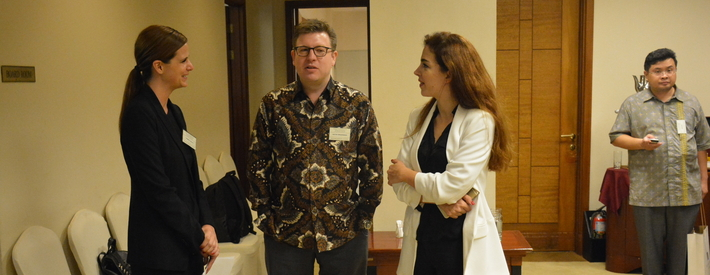 OBG Country Director Carmen Ucelay with Sacha Winzenried of PWC Indonesia